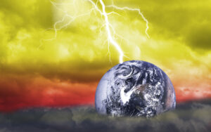 abstract Scientific background - big lightning hits planet Earth in dark dramatic sky(Earth Elements of this image furnished by NASA)