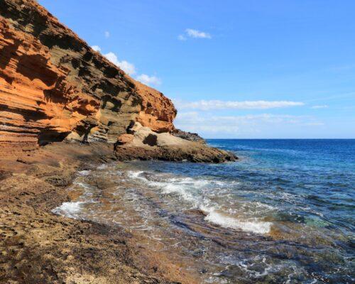 Tenerife island, Spain - sandstone coast of Playa Amarilla. Part of Costa del Silencio.